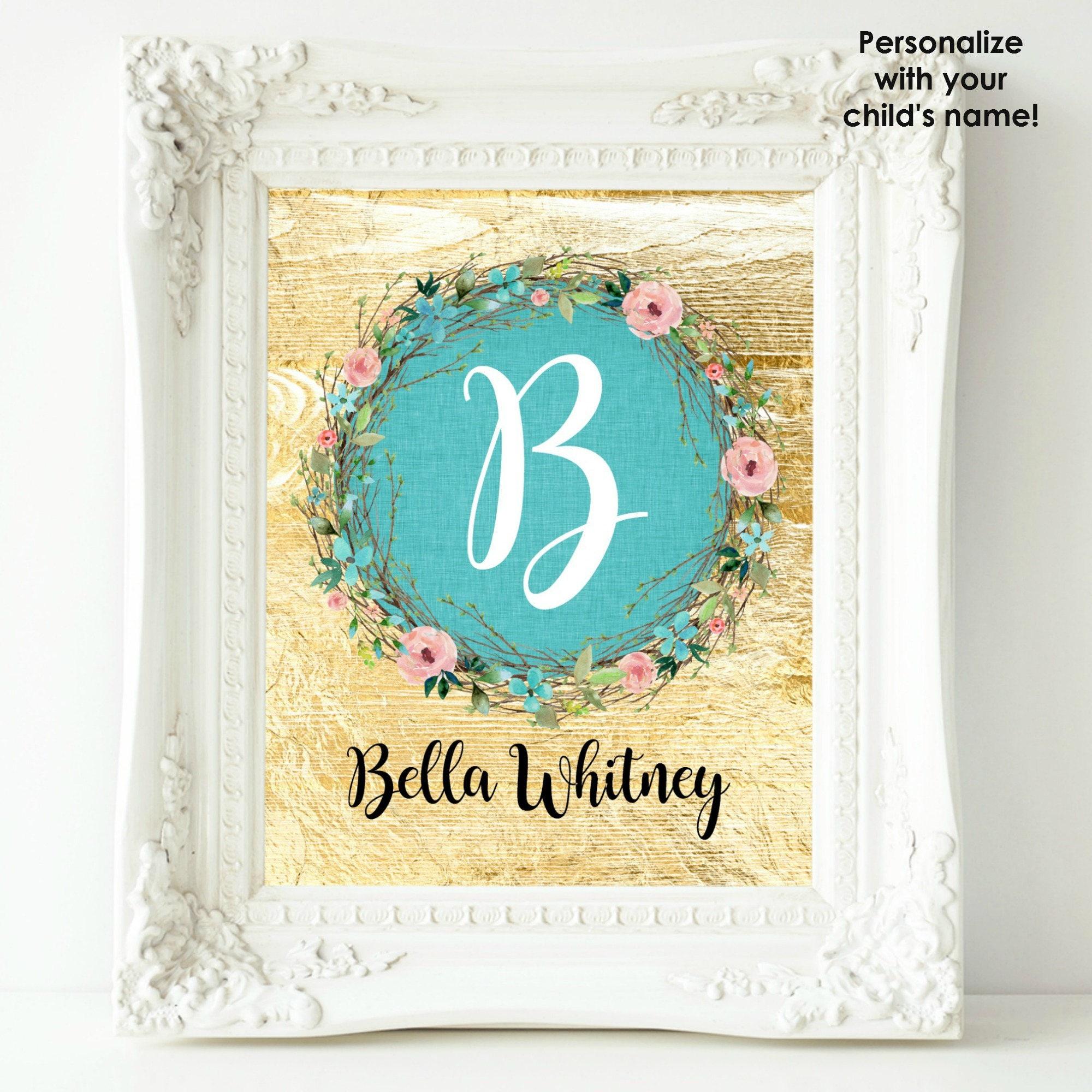 Personalized Nursery Print Baby Girl Nursery Wall Decor