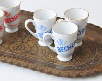 Vintage Porcelain Shot Glasses, Set of Six Liqueur Glasses, Becher's Liqueur Glasses, Small Liquor Glasses, CAS52