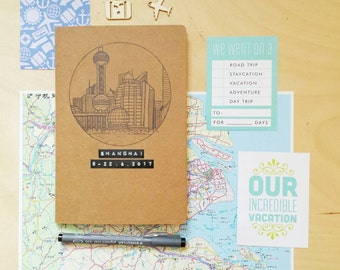 Custom Travel Journal with drawing and label