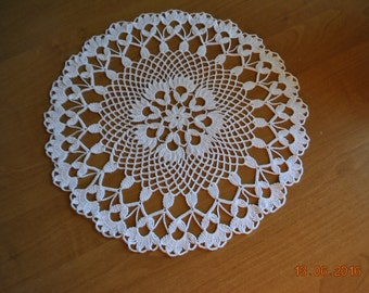 Crochet doily / white (color Nr.1) / round / lace / 14 inches (35 cm), D-6