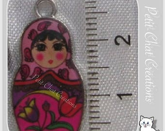 1 PENDANT charm MATRYOSHKA BABUSHKA Russian DECORATIVE metal doll * B232