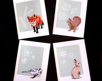 Woodland Animals Four Notecard Set with Envelopes