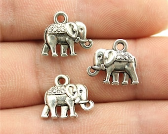 10 Elephant Charms, Antique Silver Tone Charms (1B-151)