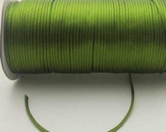 10 yards 2mm  Olive Green Satin Rattail  Kumihimo Cord