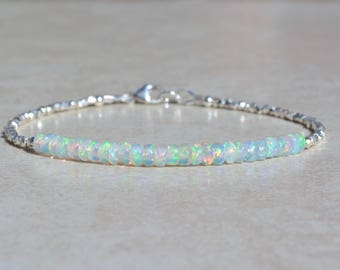 October Birthstone Bracelet, Ethiopian Opal Gemstone Bracelet, Sterling Silver, Opal Jewelry, Handmade Beaded Bracelet, Gift For Mom