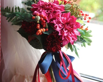 Bridal Bouquet , Silk Bouquet ,Artificial, Wedding Bouquet , Bridal Bouquet , Bouquet with Groom 's Boutonniere #No6_002S