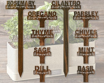 Raised Letter T-Style 10in Walnut Textured Garden Stakes Plant Markers