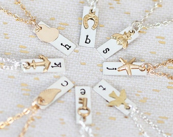 Personalized Bridesmaid Gift, Dainty Initial Necklace, Tiny Bar, Bridesmaid Jewelry, Sterling Silver, Gold Filled & Brass