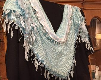 Cloud Sky Tiger hip scarf/ petite hip scarf/ light blue hip scarf