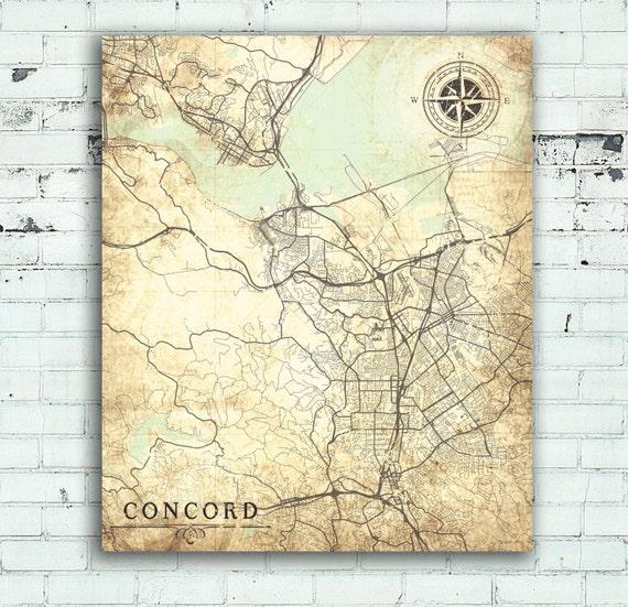 CONCORD CA Canvas Print California Ca Vintage map Concord ca