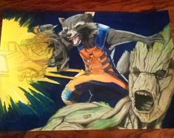 "Groot & original Rocket drawing prismacolor pencils A3 42x30cm / 16 × 12 """