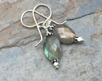 Labradorite Earrings, Blue Flash Earrings, Faceted Labradorite Earrings, 1.35 inches long