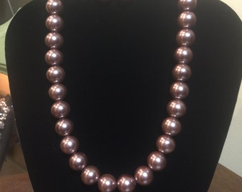 Brown Faux Pearl Necklace & Earring Set