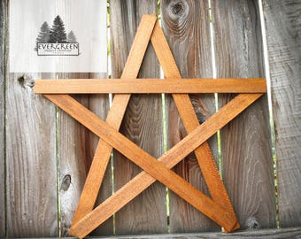 Large Wooden Rustic Home Star- Natural Stain