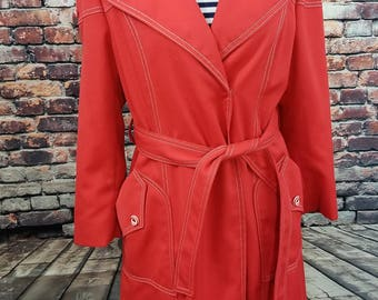 Poppy Red Vintage Trench Coat Jacket 1970's Jacket with Belted Waist / Vintage Jacket / Vintage Coat / Red trench coat