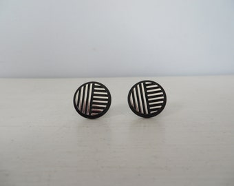 Swank Men's Black and Silver Round Cuff Links - Art Deco Style