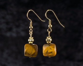 Tiger Eye and Gold Beaded Dangle Earrings on French Wires