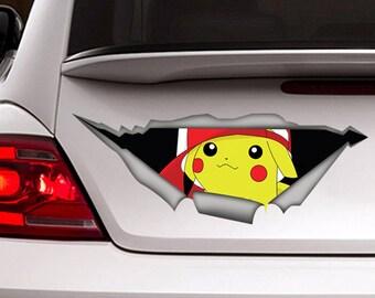 Pikachu sticker,  pikachu car decal, Vinyl decal, car decoration, pokemon  decal, pokemon sticker