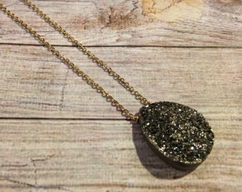 Hematite Druzy Pendant Necklace, Titanium Coated Druzy Necklace, Dark Silver Druzy Necklace, Platinum Druzy Necklace, Gypsy Jewelry