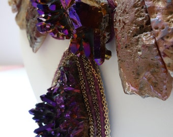 Amazing One-of-a-Kind Necklace of Shimmering Purple-Fire Drusy Quartz, Agate Slabs, Leather, and .925 Silver