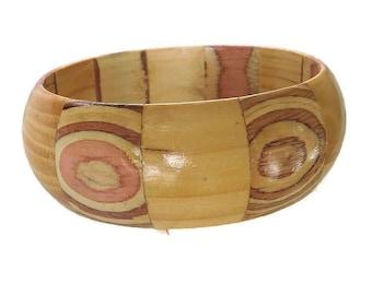 Laminated Wood Bangle Bracelet Vintage Fun