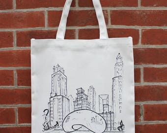 Chicago Art Canvas Tote Bag with Pocket, Chicago Bean Art, Millennium Park Tote, Chicago Architecture, City Sculpture, Skyline Tote