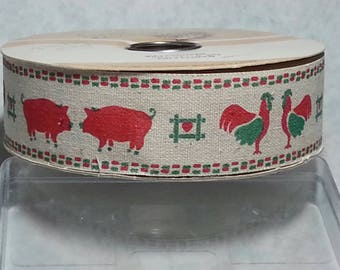 Vintage roll ribbon barnyard roosters pigs weather proof 1.5in. wide 25yds. long A Lion Product Made in USA