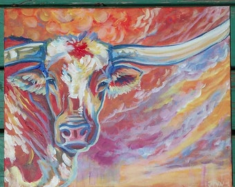 Longhorn  study 2 cow cattle bull texas steer cowboy cowgirl rodeo