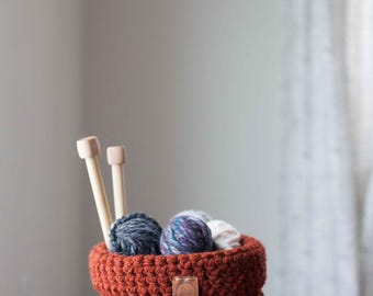 Ready to ship! Crocheted foldover basket // featured in the color Rust