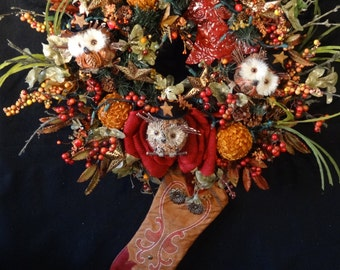 Country Western Lighted Wreath,Cowboy Christmas Wreath, Country Western Decor, Cowboy Boot Wreath, Country Western Ornaments, Fall Wreath