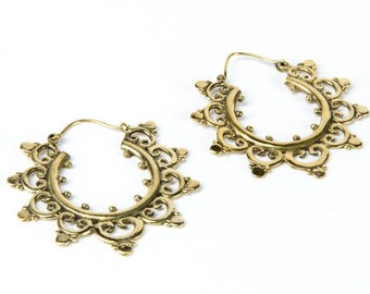 Mandela Dotted Brass Earrings with clasp handmade, Brass, Indian Style , Tribal Earrings, Gift boxed, Free UK post BG1