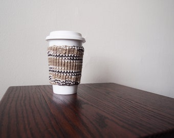 Knit Reusable Coffee Cozy / Cup Sleeve in Venti Size