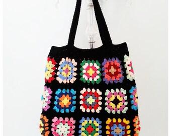Crochet Bag, Shoulder Bag, Crochet Purse, Woman's Bag, Tote bag, Crochet tote Bag, Granny Square Bag, Summer Bag, Gift for Her ,Black Bag