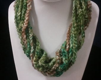 Crochet Necklace  Yarn Necklace   Cotton Necklace     Multi Color Necklace