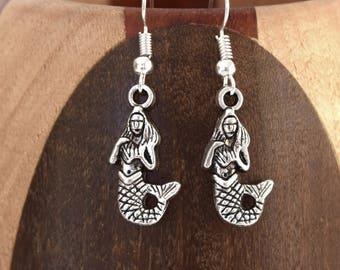 Earrings antique silver Little Mermaid, clip antique silver Little Mermaid