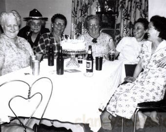 vintage photo 1954 Unusual Out of Context Woman Beer or Birthday Cake Happy Gals snapshot