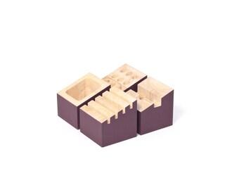 Office organizer - Hevea wood rubber tree - Purple plum - Card storage - Pencil organizer - Phone dock