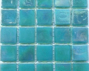 "15mm (3/5"") Aquamarine IRIDESCENT Glass Mosaic Tiles//Blue Green Mosaic Tiles//Mosaic Supplies/Mosaic//Crafts"