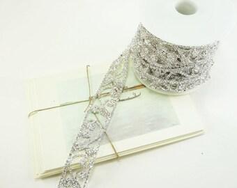Silver Rhinestone Vine Scroll Trim, Rhinestone Chain, Wedding Rhinestone Trim, Clear Crystal Trim, 28mm ( 1 Feet Qty)