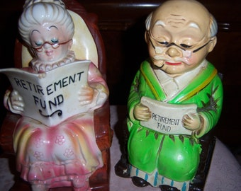 Vintage Lefton Japan Ceramic Old Grandma Grandpa Retirement Fund Coin Bank Set of Two Rocking Chair