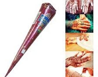 1 X Natural Kaveri Brown Henna Cone Temporary Tattoo Body Art Ink!!