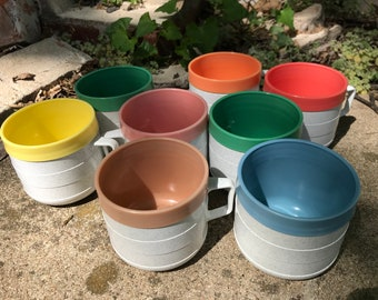Cornish Therm-O Coffee Cups Set of 8/Insulated/Unbreakable/Midcentury/Camping/Airstream/RV/Cabin/Made in USA/1960s