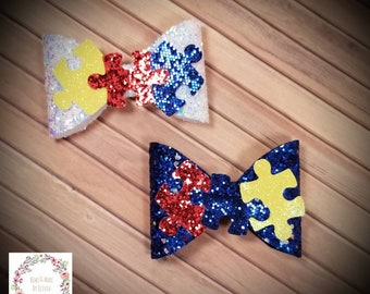 Autism awareness hairbow, light it up blue, autism, hairclip, hairbow, glitter, handmade, puzzle piece, chunky glitter