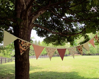 """Pink Floral bunting pennants garland on white strand: 11' long with 24"""" ends for tieing"""