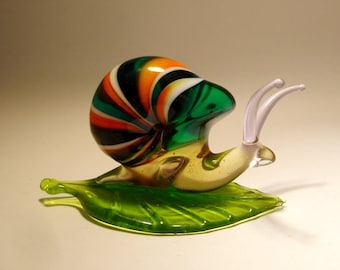 Handmade Blown Glass Art Animal Figurine Insect Snail on a Leaf with a Colorful Striped Shell