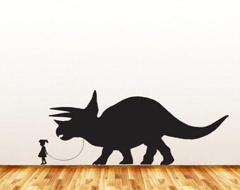 "WALL ~ Pet Dinosaur A Girl and Her Triceratops - Wall Vinyl Decal Sticker - Copyright © Yadda-Yadda Design Co. (36""w x 14""h)(BLACK) (L or R)"