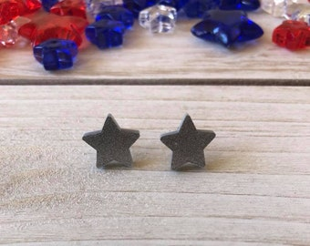 Small Sparkling Silver Star Earrings