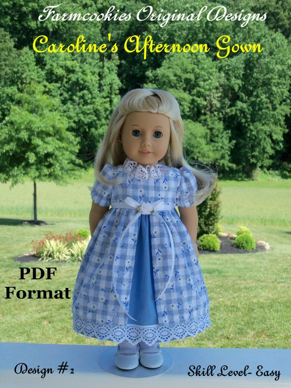 """PDF Sewing Pattern/  Caroline's Afternoon Gown / Sewing Pattern   Fits  American Girl® or Other 18"""" Dolls"""