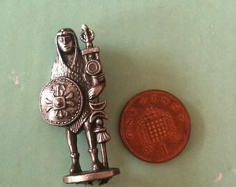 Vintage miniature Aztec warrior in silver metal