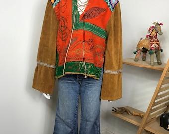 Vtg 70s patchwork ooak wearable art boho crochet embroidered top shirt sweater